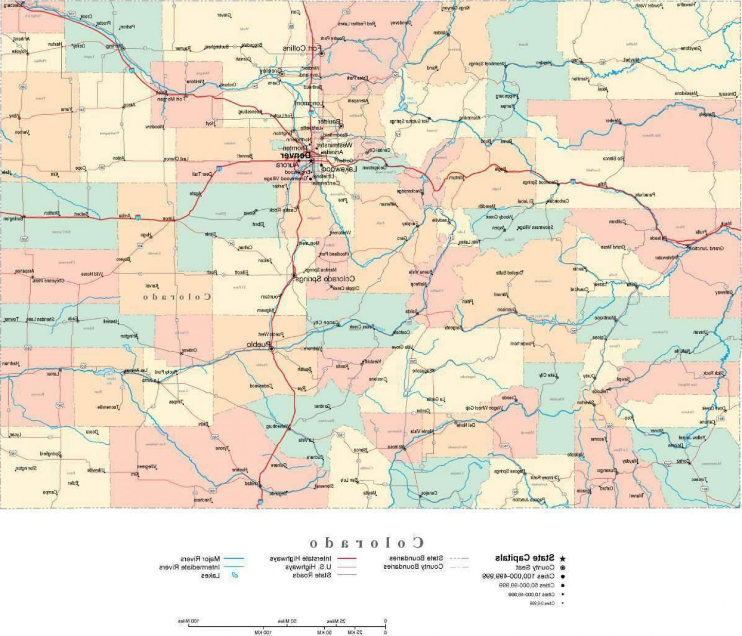 Colorado State Vector Maps: Colorado Digital Vector State Map Co Usa