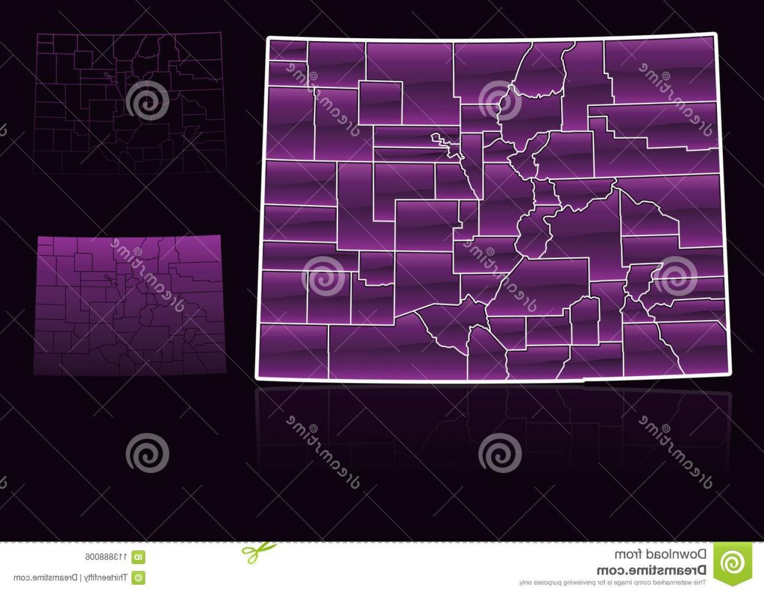 Colorado State Vector Maps: Colorado State County Map Vector Illustration Stylized Graphic Its Counties Image
