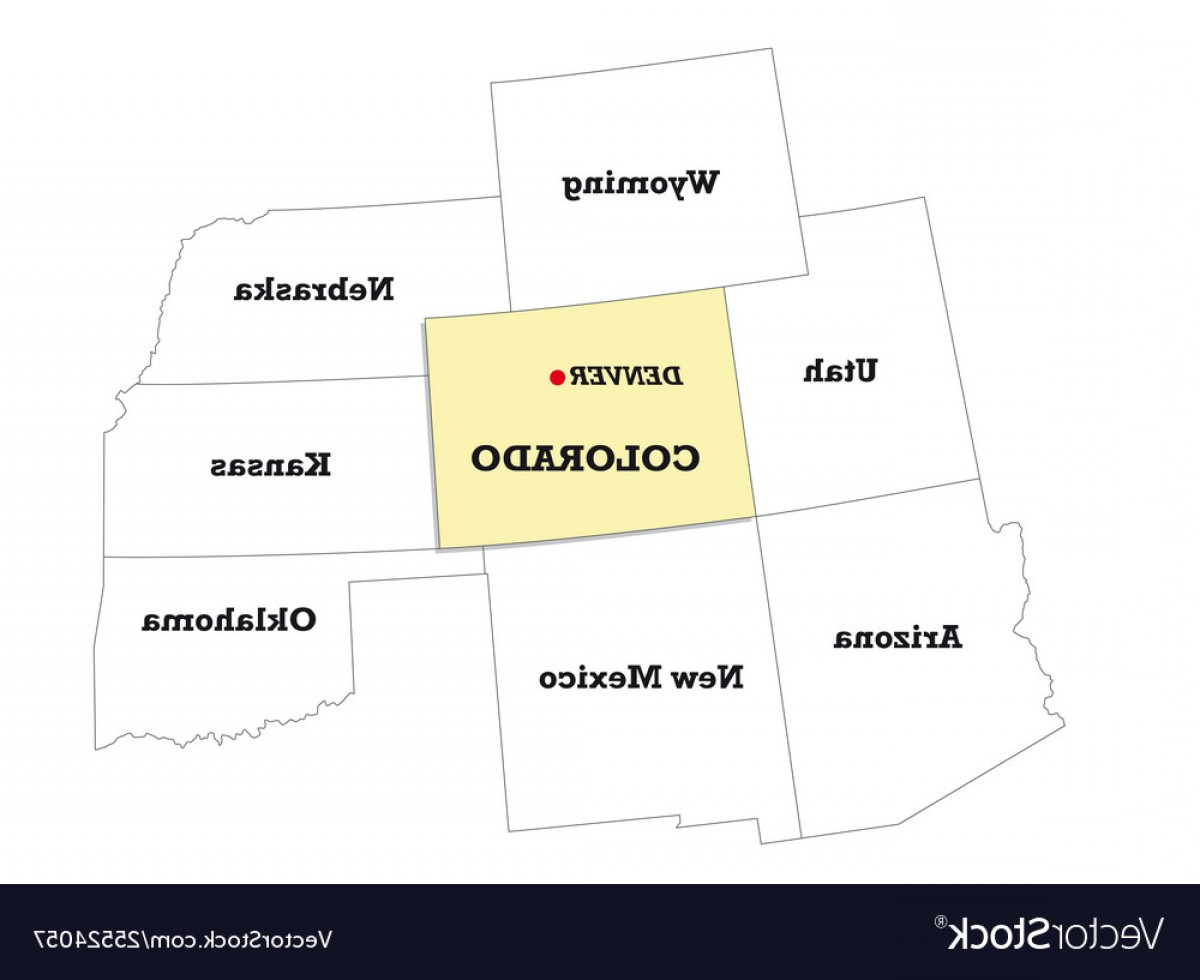 Colorado State Vector Maps: Colorado State Map With Neighboring States Vector