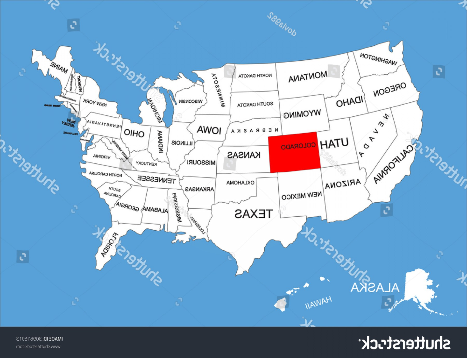 Colorado State Vector Maps: Colorado State Usa Vector Map Isolated