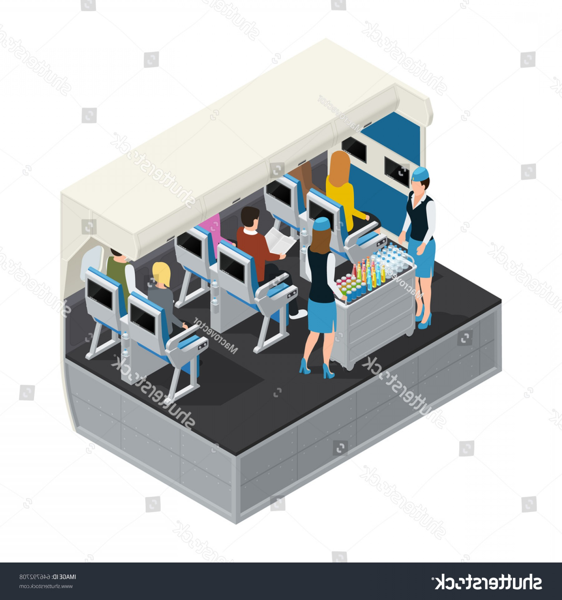 Vector Newspapers Snacks: Colored Airplane Interior Isometric Composition Lunch