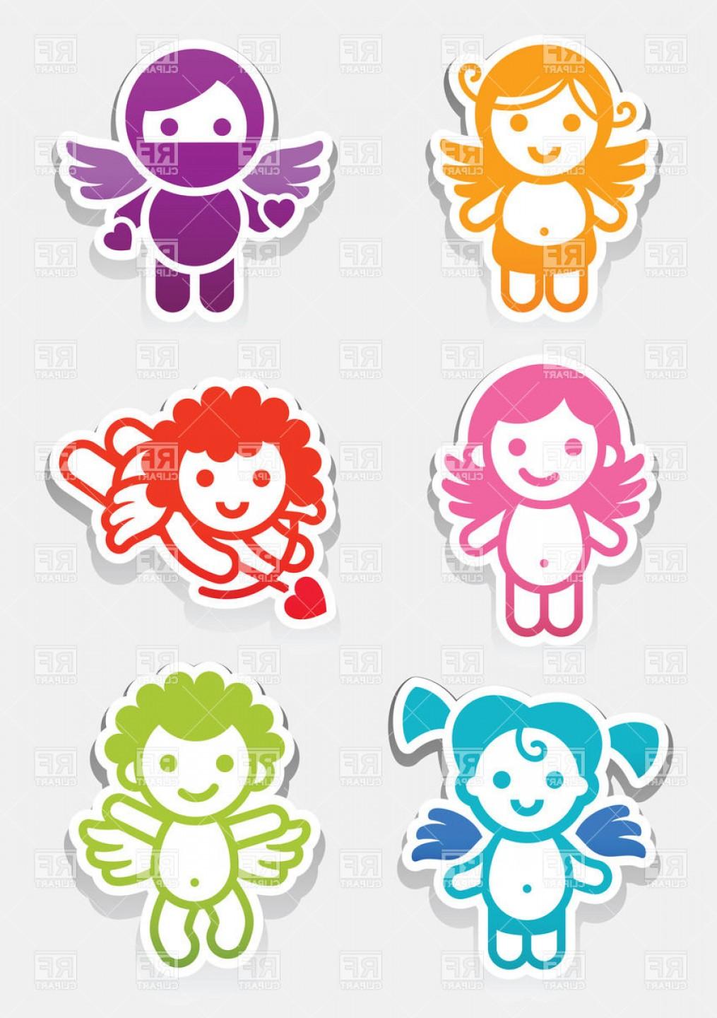 Vector Clip Art Collections: Colored Angel Stickers Collection Vector Clipart