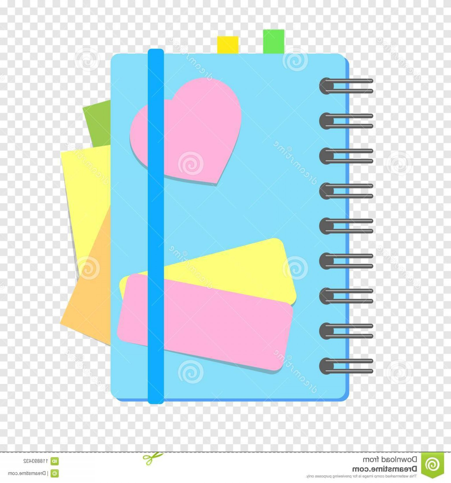 Subtracting Vectors BA: Colored Closed Notebook Spring Bookmarks Pages Simple Flat Vector Illustration Isolated Transparent Ba Image