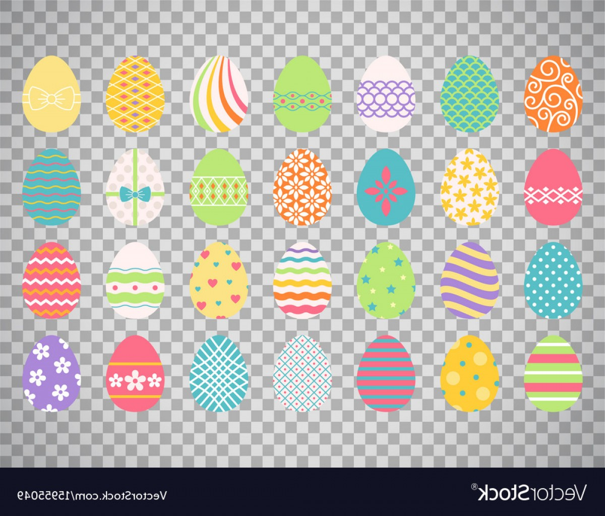 Easter Vector No Background: Colored Easter Eggs On Transparent Background Vector