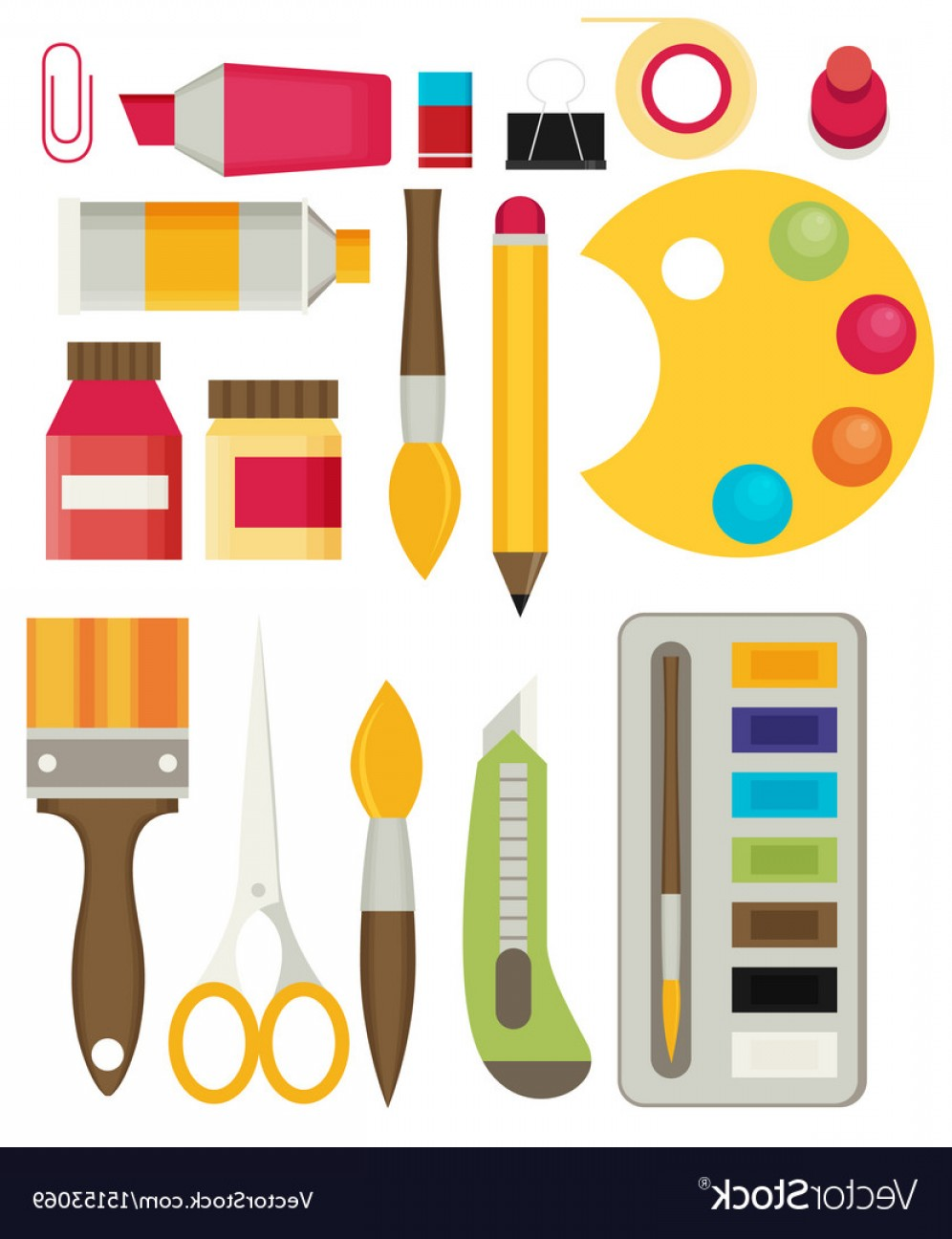 Supplies Vector Graphic: Colored Flat Design Icons Set Of Art Supplies Art Vector