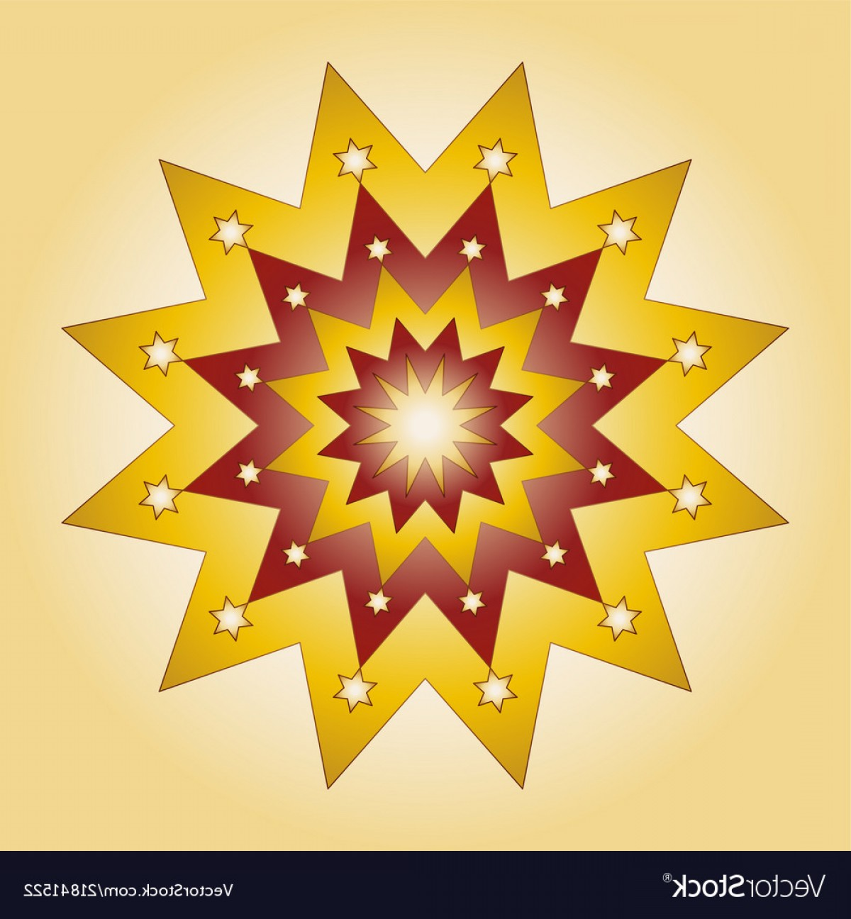 Stars Yellow Christmas Vector: Colored Round Yellow Red Christmas Mandala Star Vector