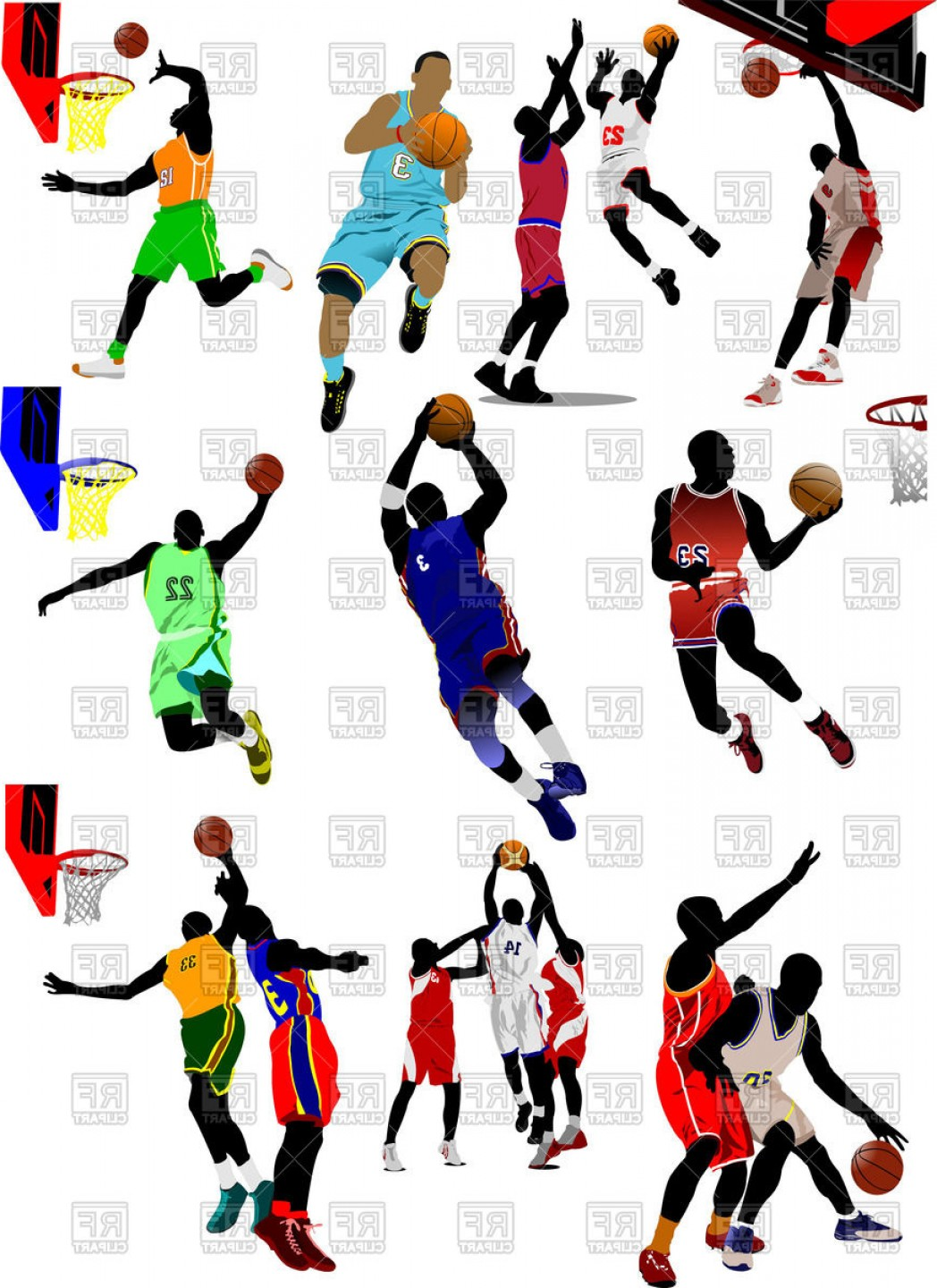Motion Basketball Vector: Colored Silhouette Of Basketball Players In Motion Vector Clipart