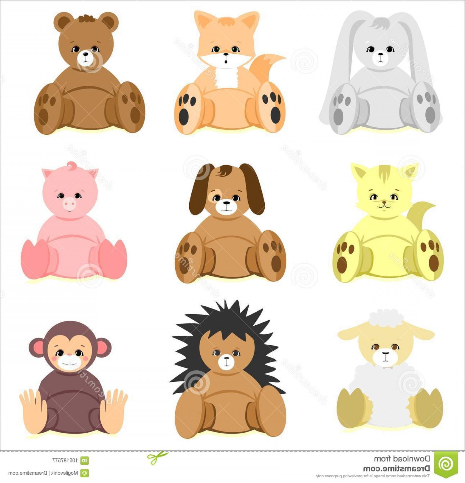 Sitting Monkey Vector Baby Shower: Colorful Baby Shower Animal Toys Set Colorful Baby Shower Animal Toys Set Rabbit Fox Bear Cat Dog Pig Sheep Hedgehog Monkey Image