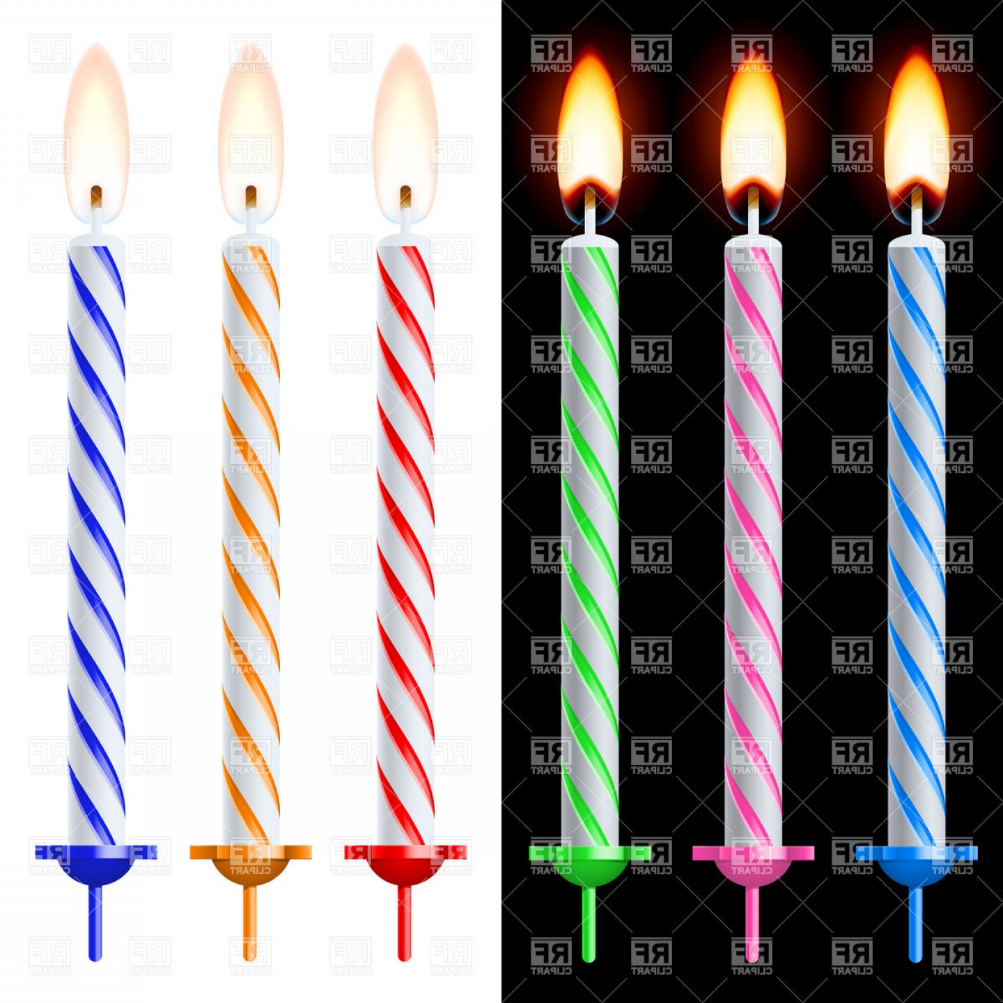 Birthday Candle Vector Art: Colorful Birthday Cake Candles Vector Clipart