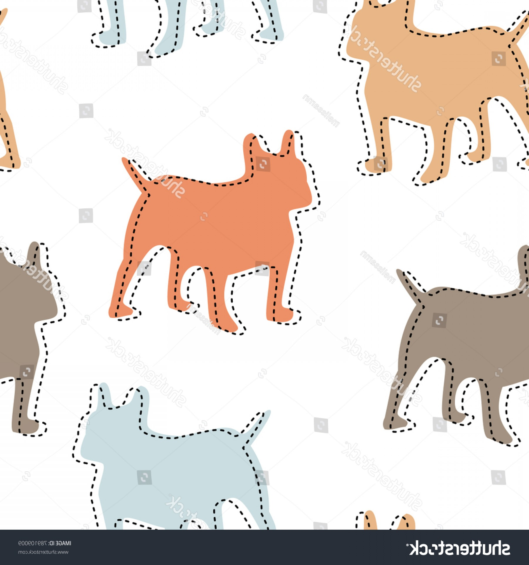Double Boxer Dog Vector: Colorful Boxer Dog Repeating Seamless Pattern