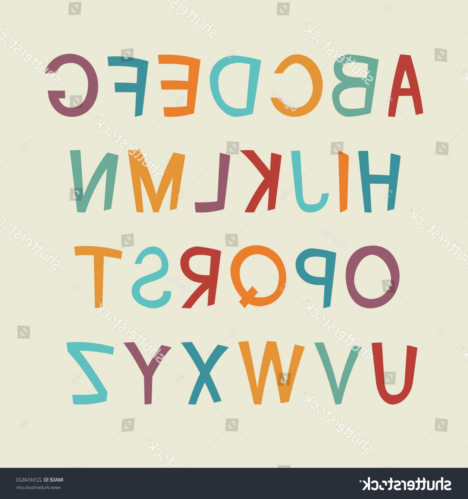 EPS Vector Letters: Colorful Cartoon Alphabet Vector Letters Eps