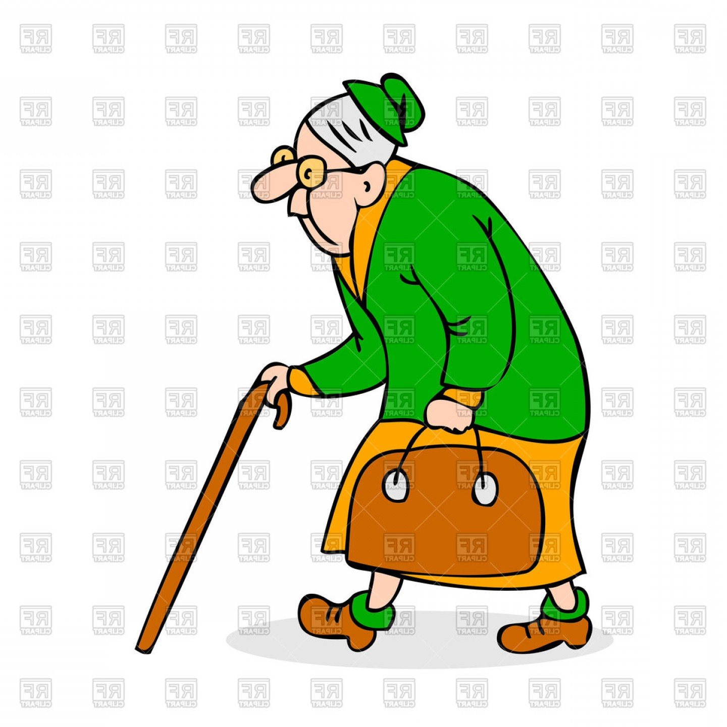 Vector Cartoon Free Clip Art: Colorful Cartoon Grandmother With Glasses Walking Vector Clipart