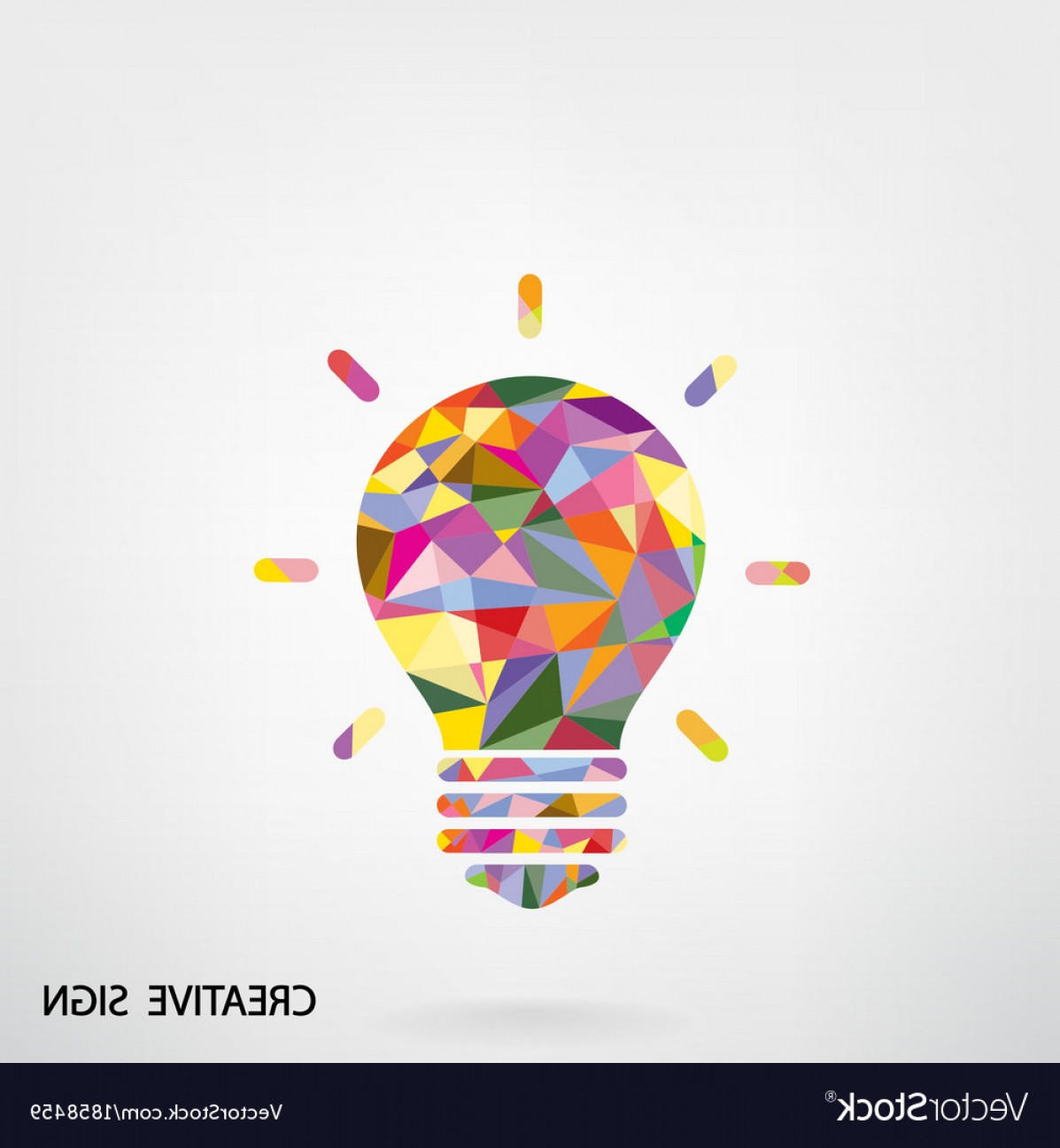Creative Light Bulb Vector: Colorful Creative Light Bulb Sign Vector