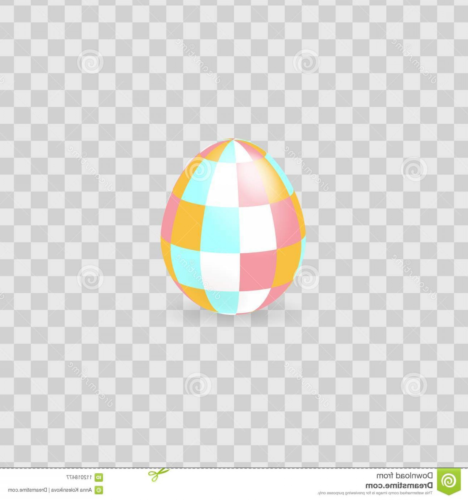 Easter Vector No Background: Colorful Easter Egg Isolated Transparent Background Vector Illustration Image
