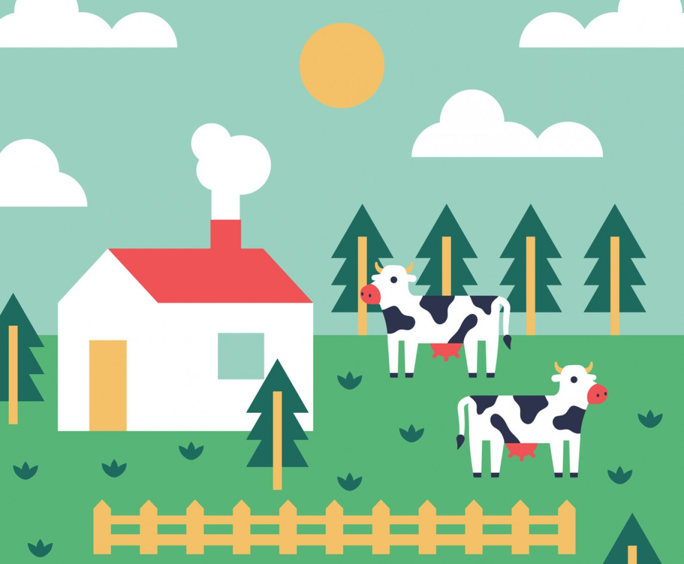 Farm Vector Illustration: Colorful Farm Vector Background