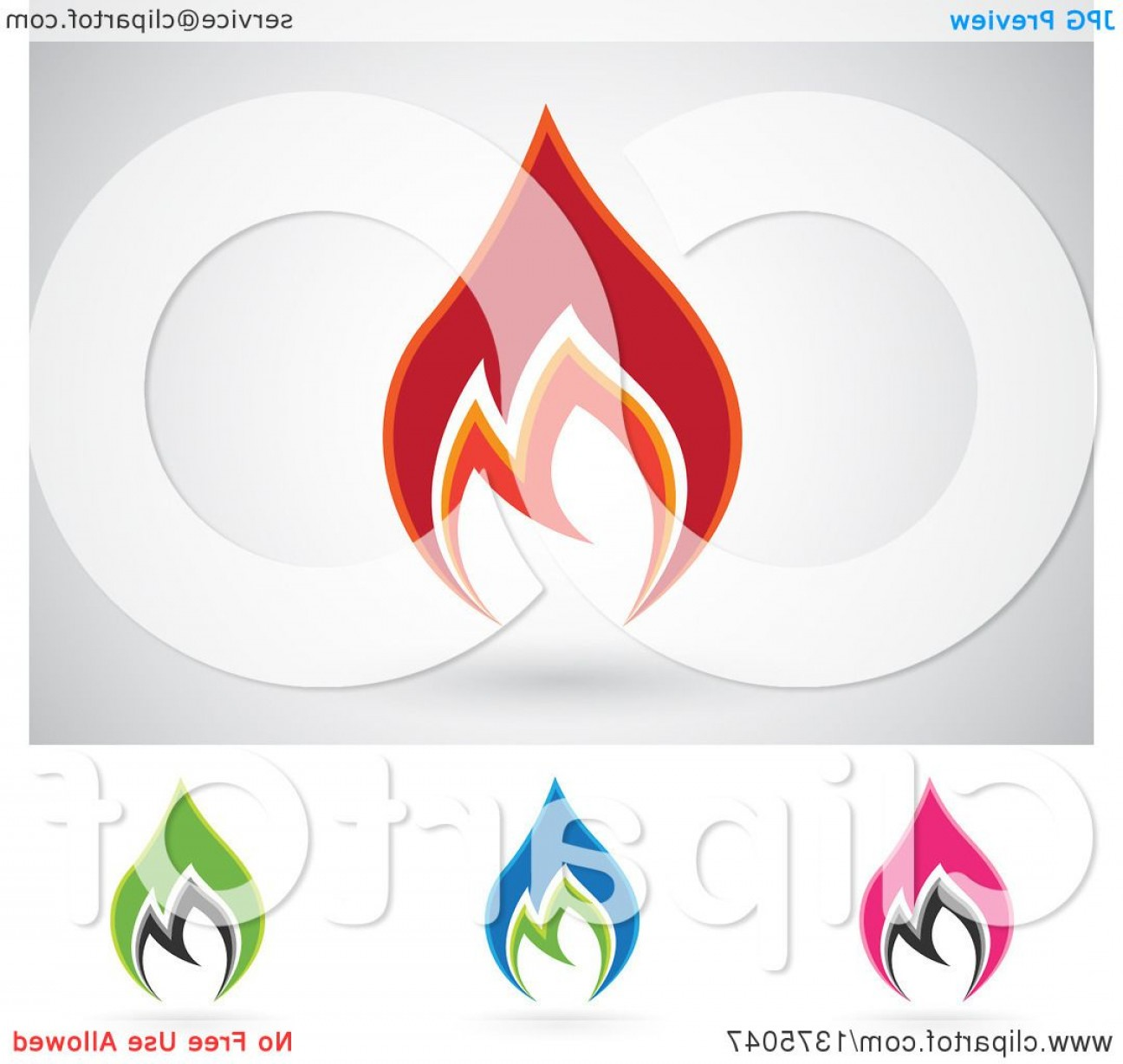Fire Clip Art Vector: Colorful Fire Icon Logos With Shadows