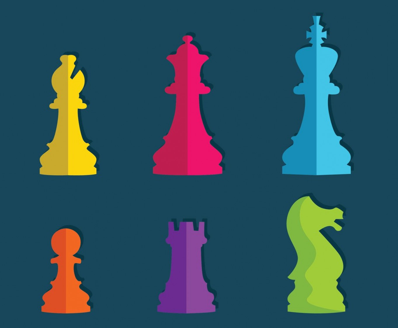 Vector Chess Board: Colorful Flat Chess Pieces Vector