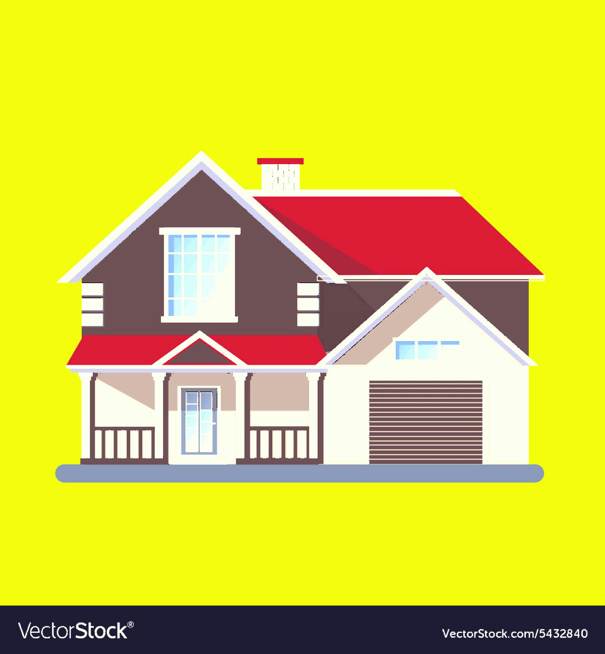 Flat Vector House: Colorful Flat Residential Houses Vector