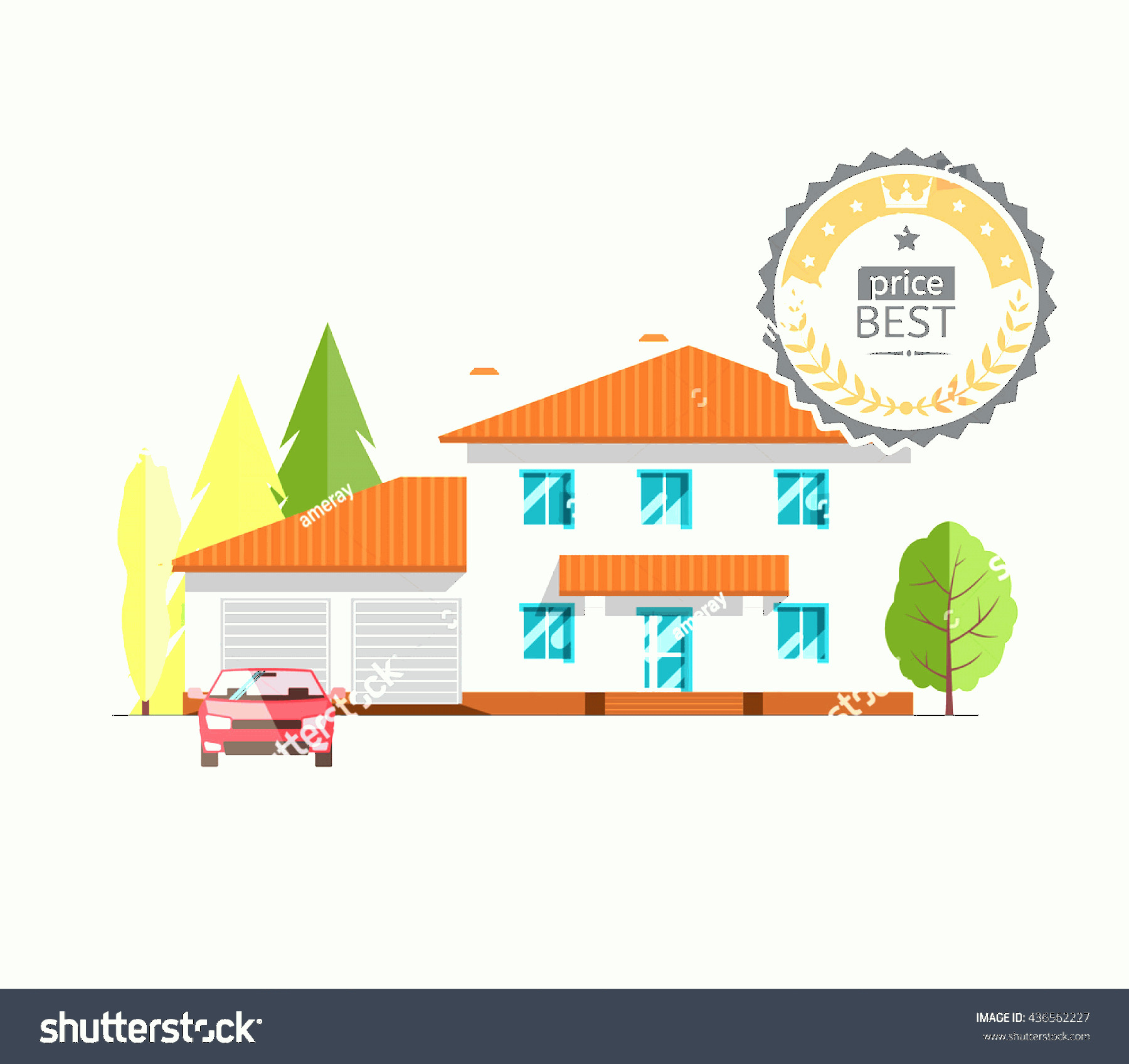 Flat Vector House: Colorful Flat Vector House On White