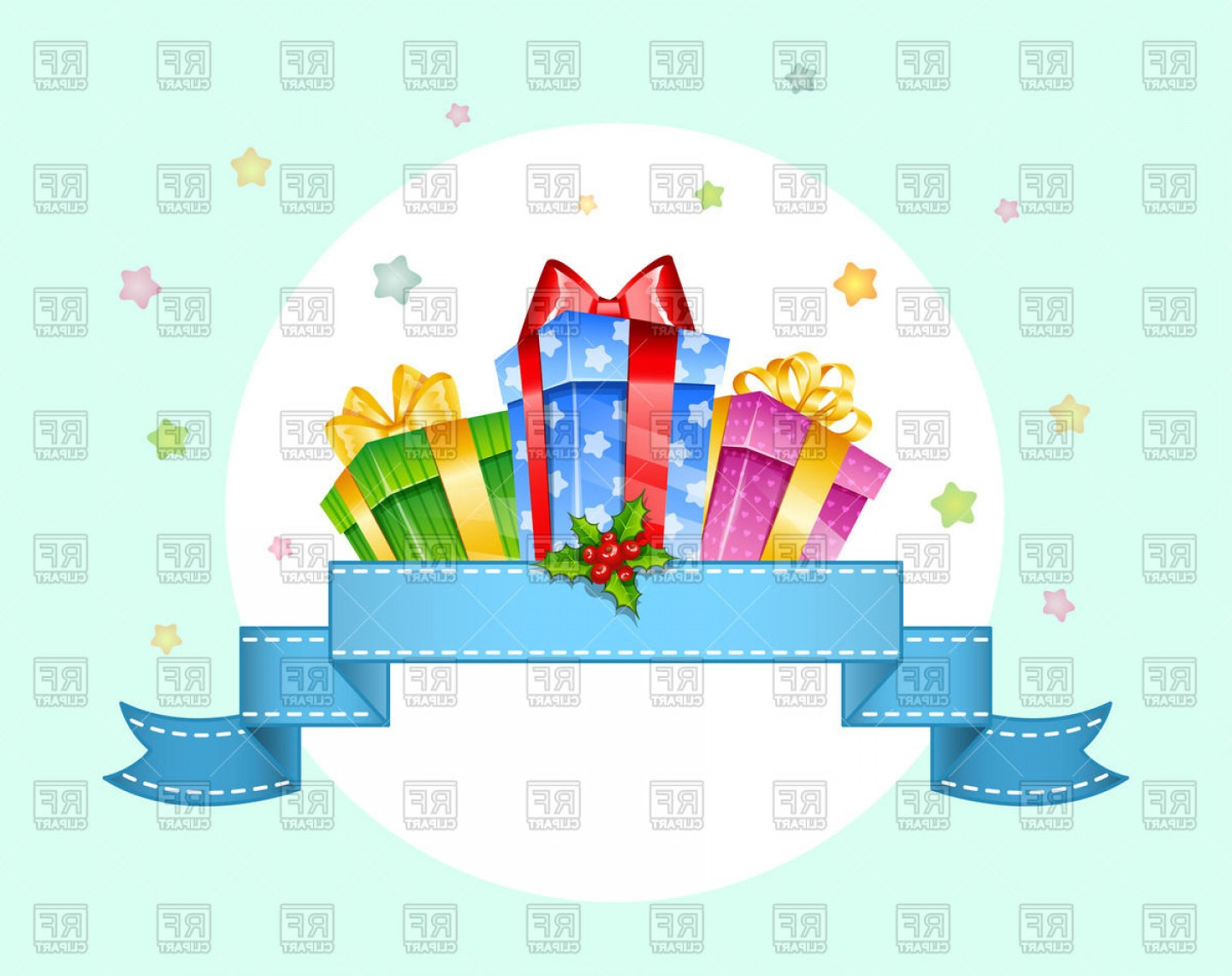 Vector Frame Gift: Colorful Gift Boxes With Bows On Round Frame With Ribbon Vector Clipart