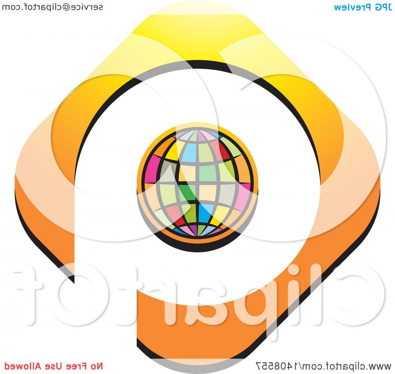 Globe Vector Clip Art Transparent Orange: Colorful Globe Outlined In Orange With Space As A Q