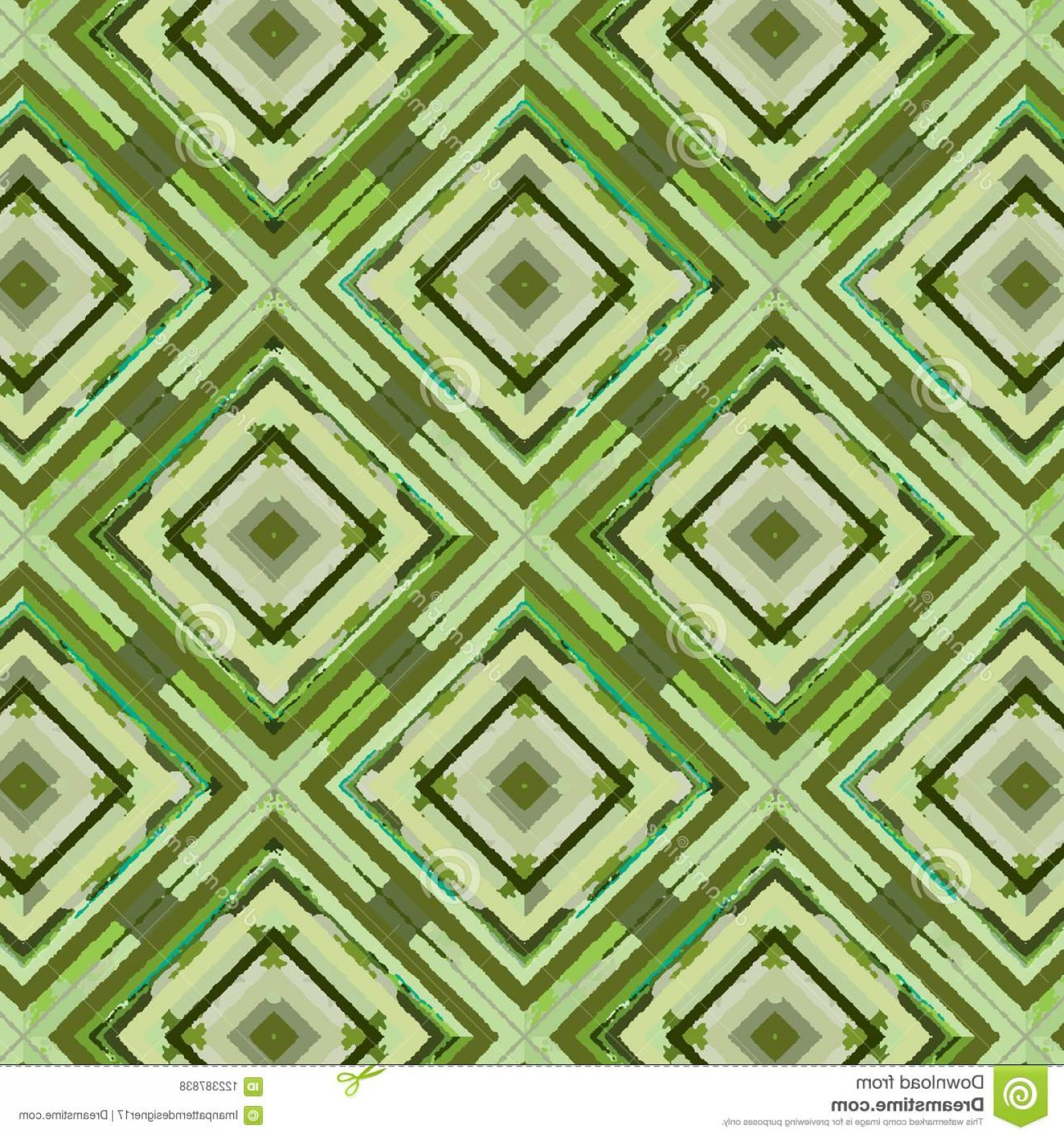 Loose Diamond Border Vector: Colorful Green Diamonds Squares Seamless Pattern Painted Repeating Rhombuses Hand Painting Quality Textile Image
