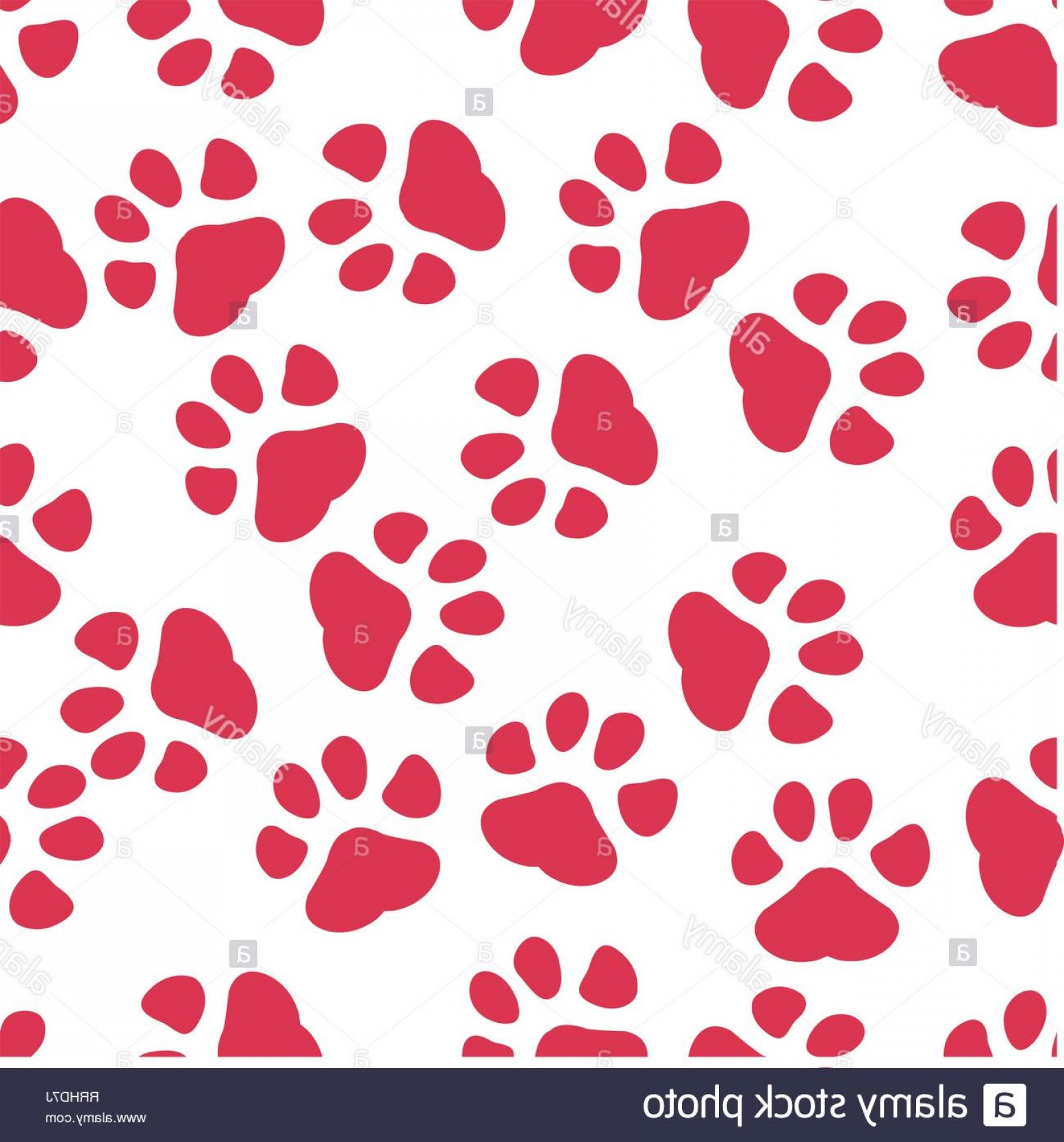 Footprint Vector EPS: Colorful Hand Drawn Watercolor Illustration With Animal Footprints Red Paw Eps Image
