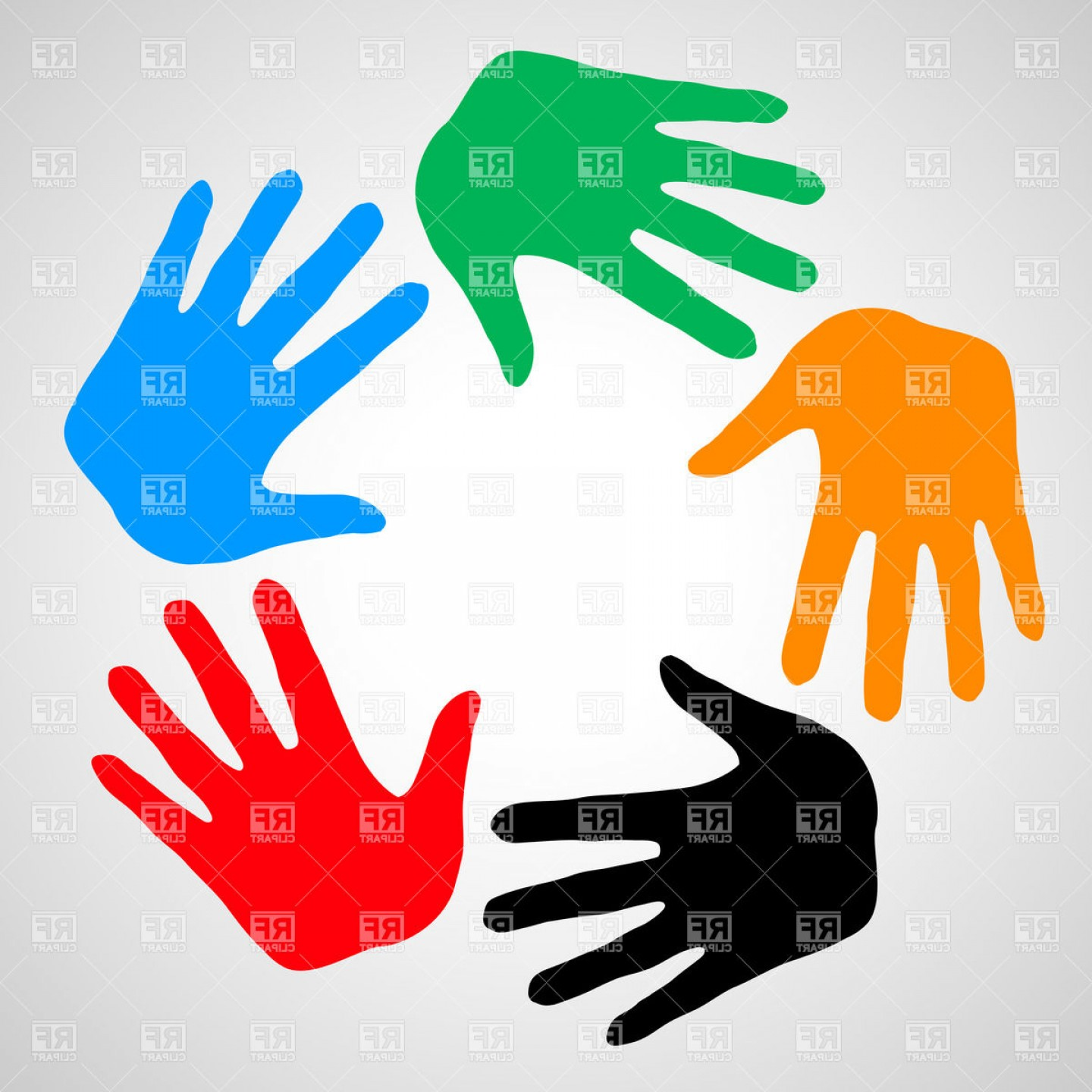 Support Vector Graphics: Colorful Hands As Symbol Friendship Help And Support Vector Clipart