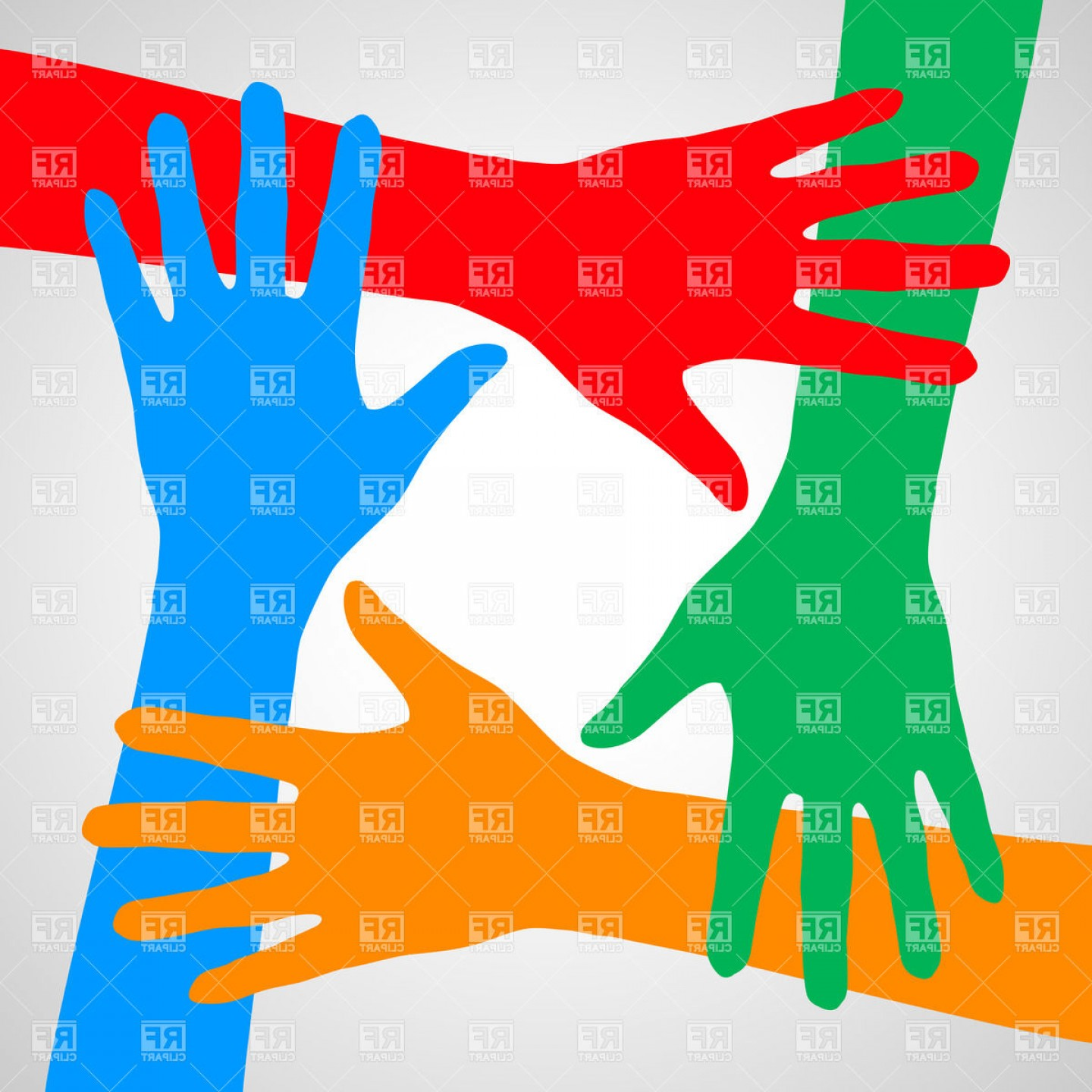 Support Vector Graphics: Colorful Hands Symbolizing Friendship Help And Support Vector Clipart