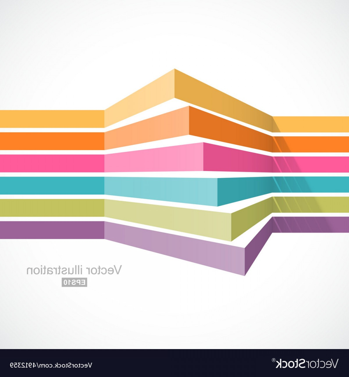 Perspective Vector: Colorful Horizontal Lines In Perspective Vector
