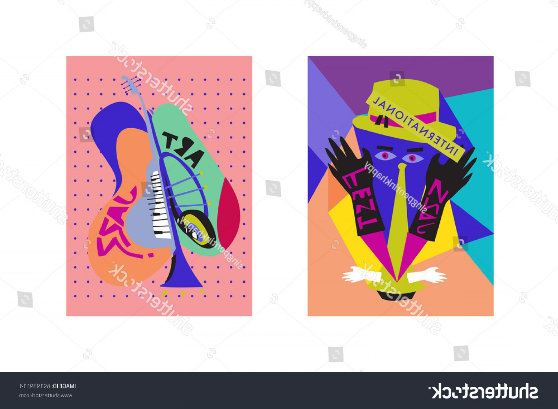 Singers Vector Art: Colorful International Jazz Festival Musicians Singers