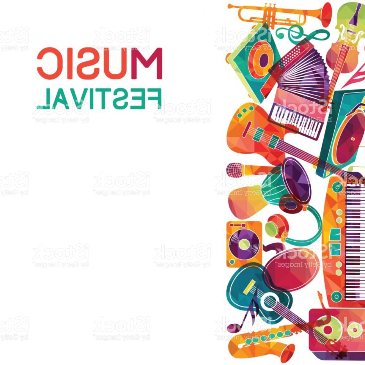 Vector Background Clip Art: Colorful Music Background Music Instruments Vector Illustration Gm