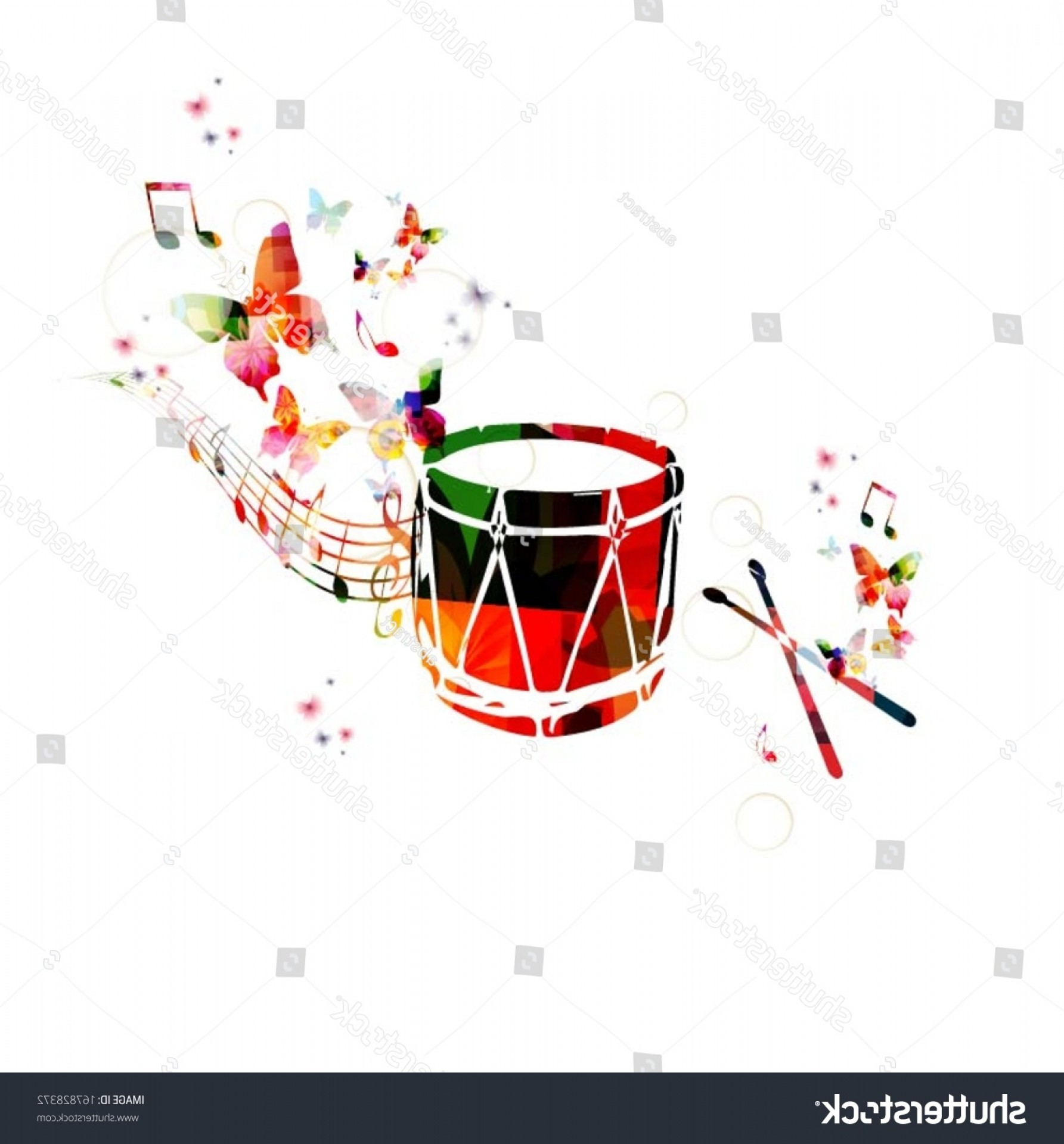 Gospel Music Background Vector: Colorful Music Background Traditional Turkish Drum
