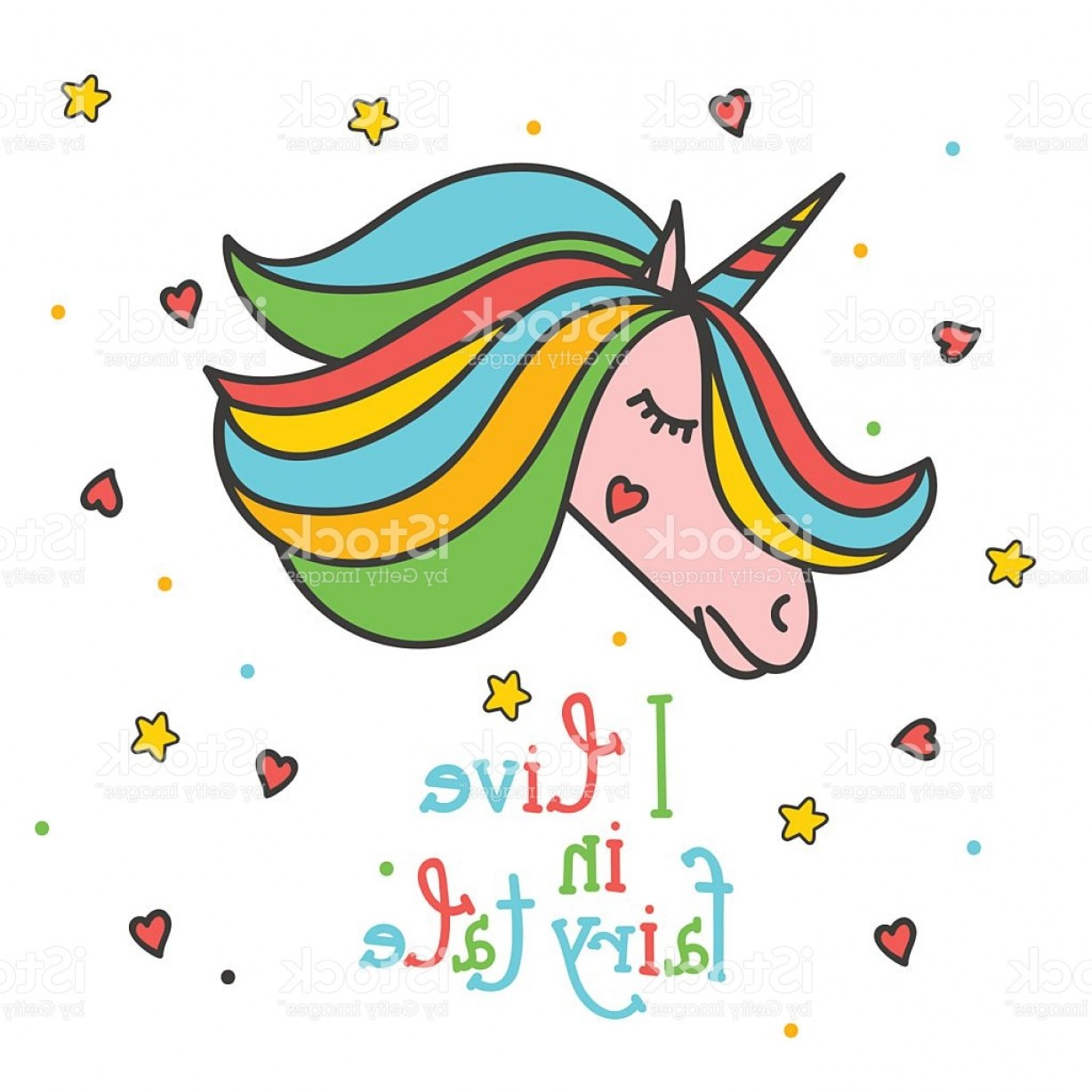 Vectors Heart And Star: Colorful Patch With Unicorn Heart Star Hand Drawn Vector Illustration Gm