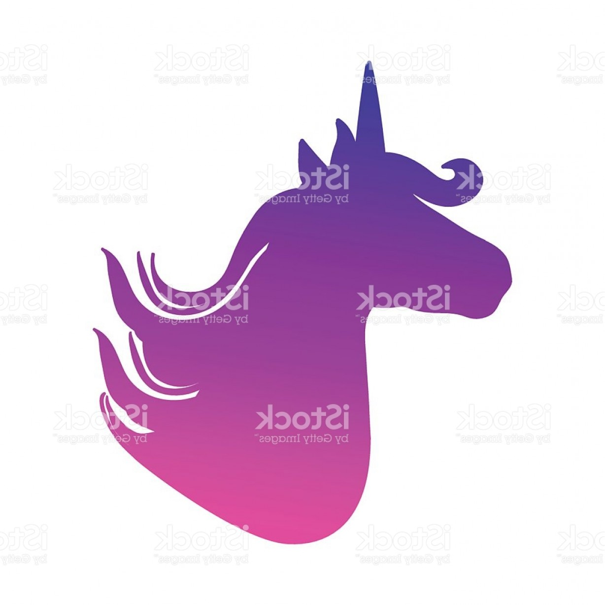 Unicorn Silhouette Head Vector: Colorful Patch With Unicorn Silhouette Bright Colors Fashion Trend Badge Gm