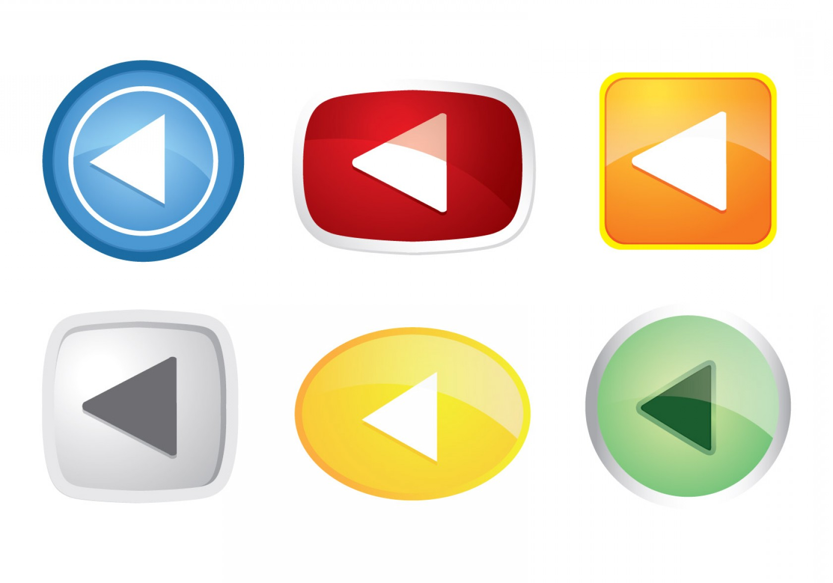Buttons Vector Art: Colorful Play Button Icon Vectors