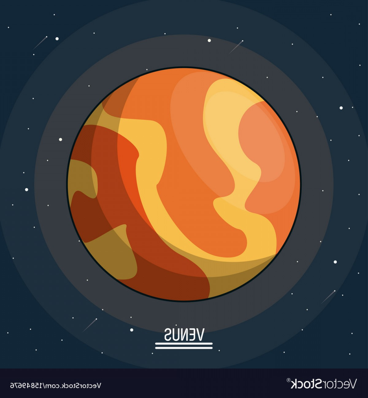 Planets Vector Graphics: Colorful Poster Of The Planet Venus In The Space Vector