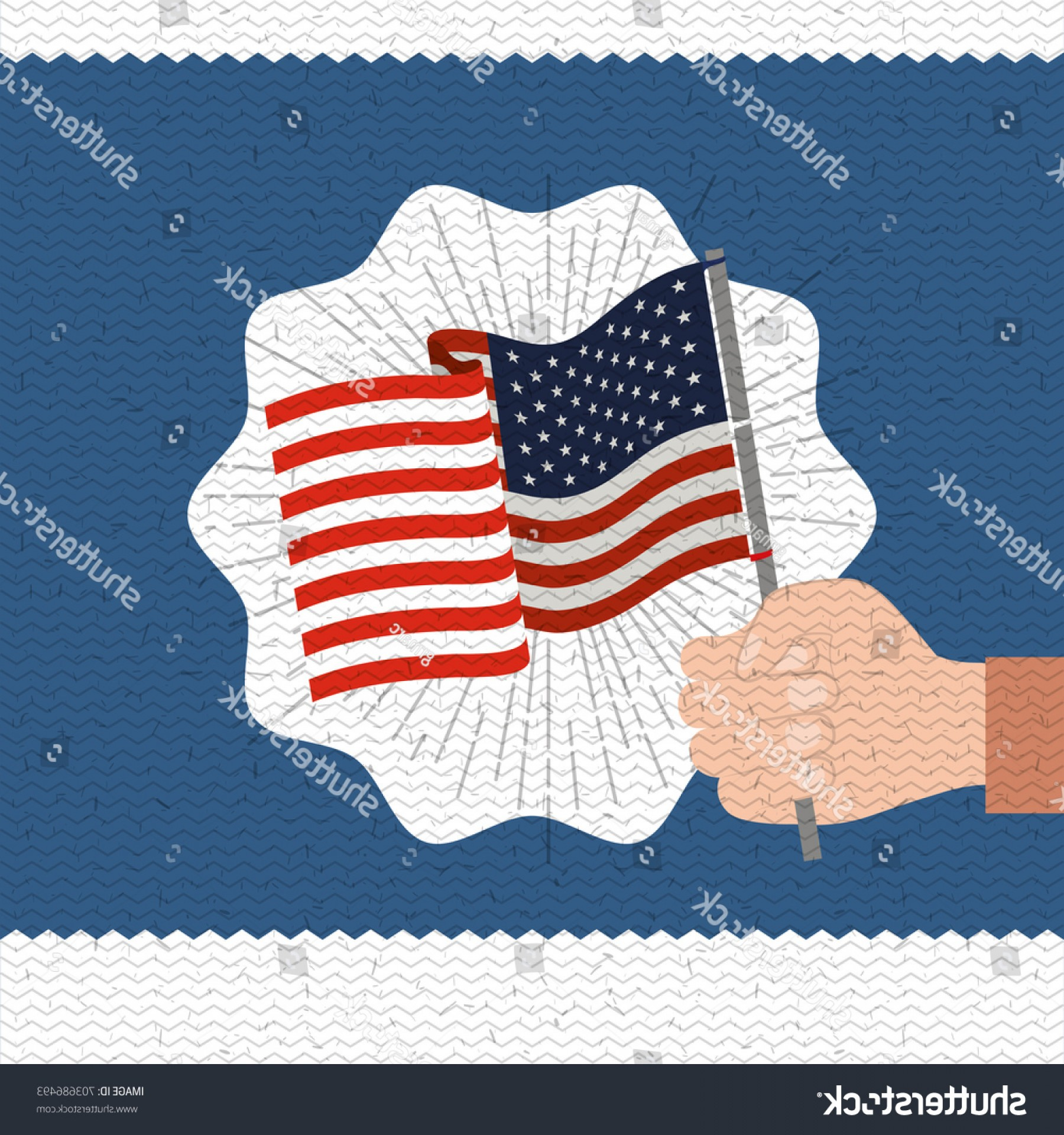 US Flag Vector Lines: Colorful Poster Zigzag Lines Happy Labor