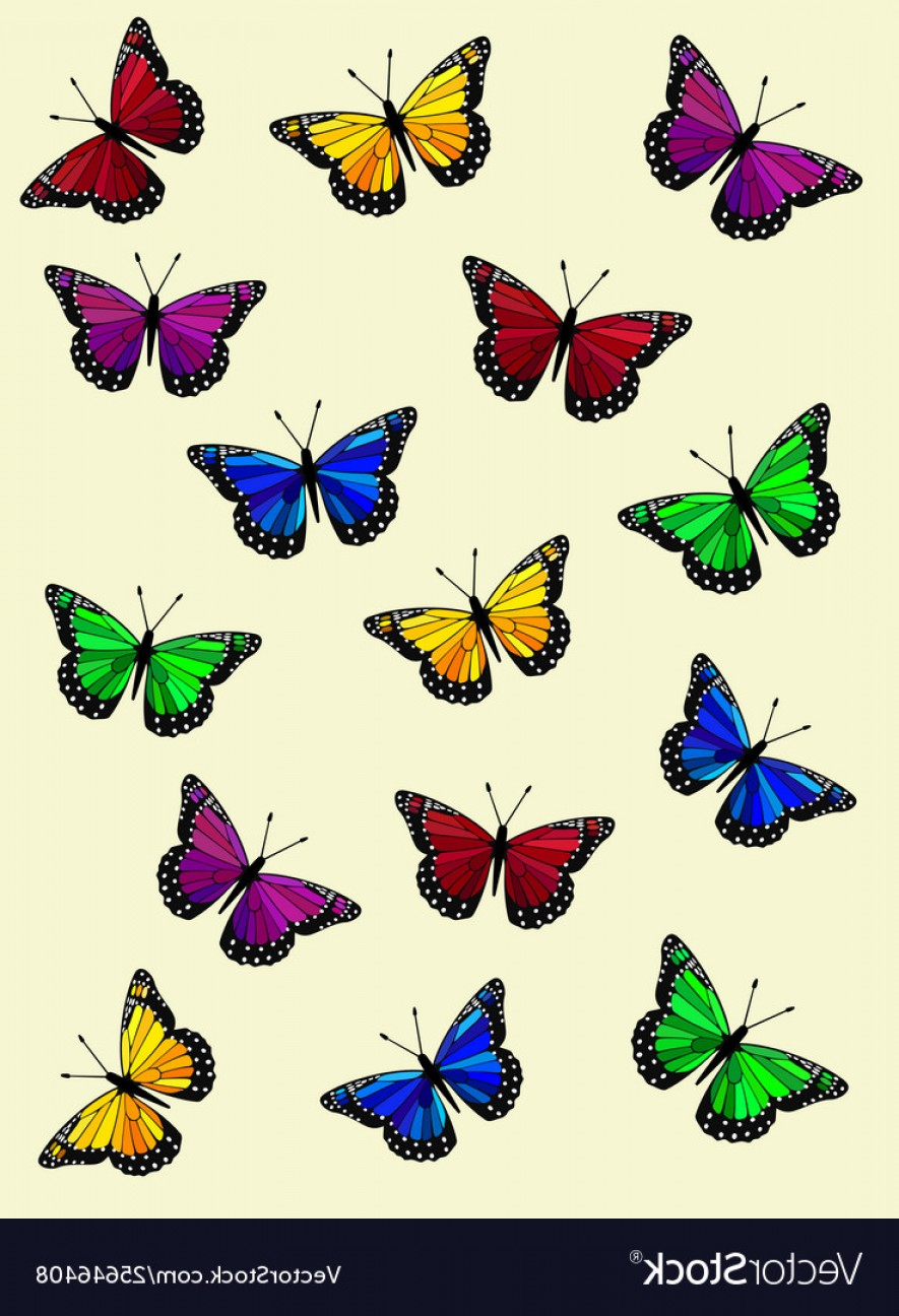 Purple Butterfly Wallpaper Vector: Colorful Rainbow Butterflies Wallpaper Vector