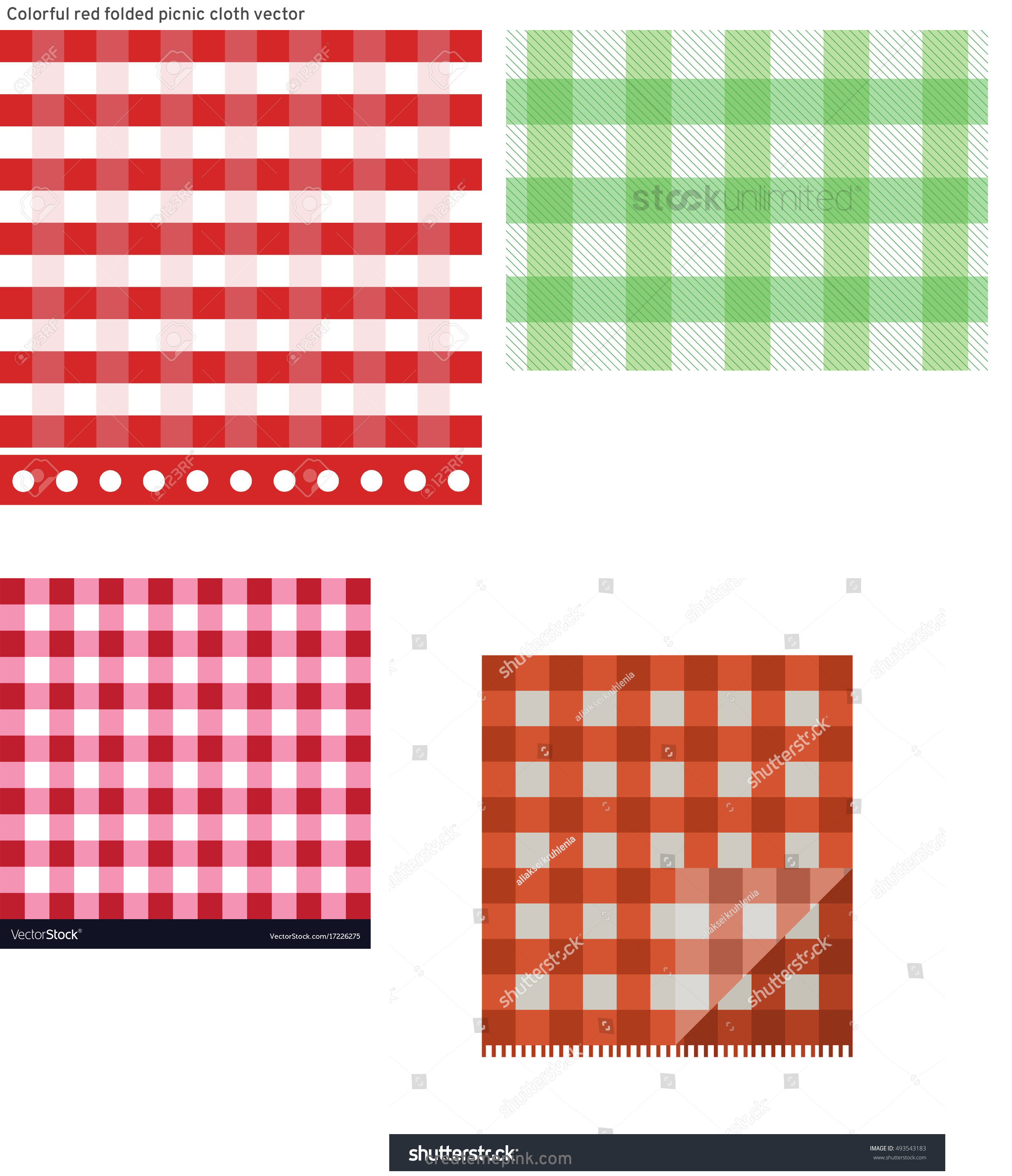 Picnic Cloth Vector: Colorful Red Folded Picnic Cloth Vector