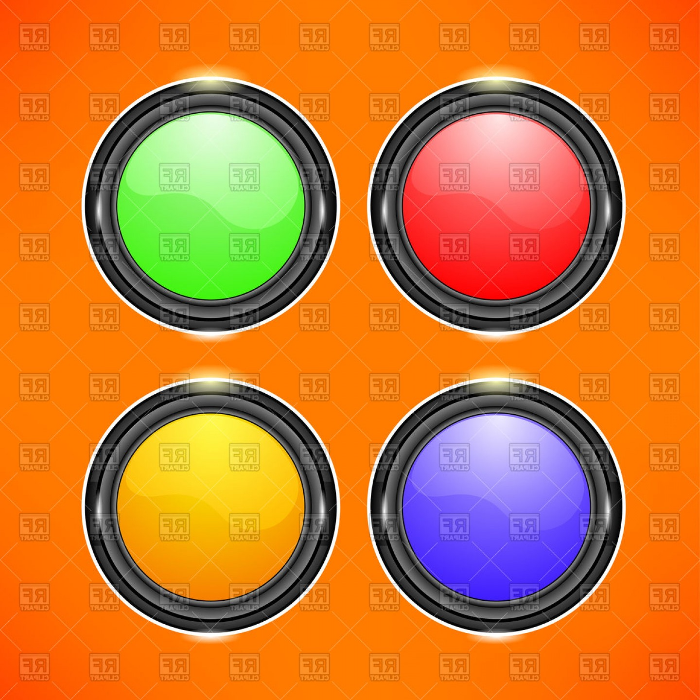 Buttons Vector Art: Colorful Round Buttons Vector Clipart