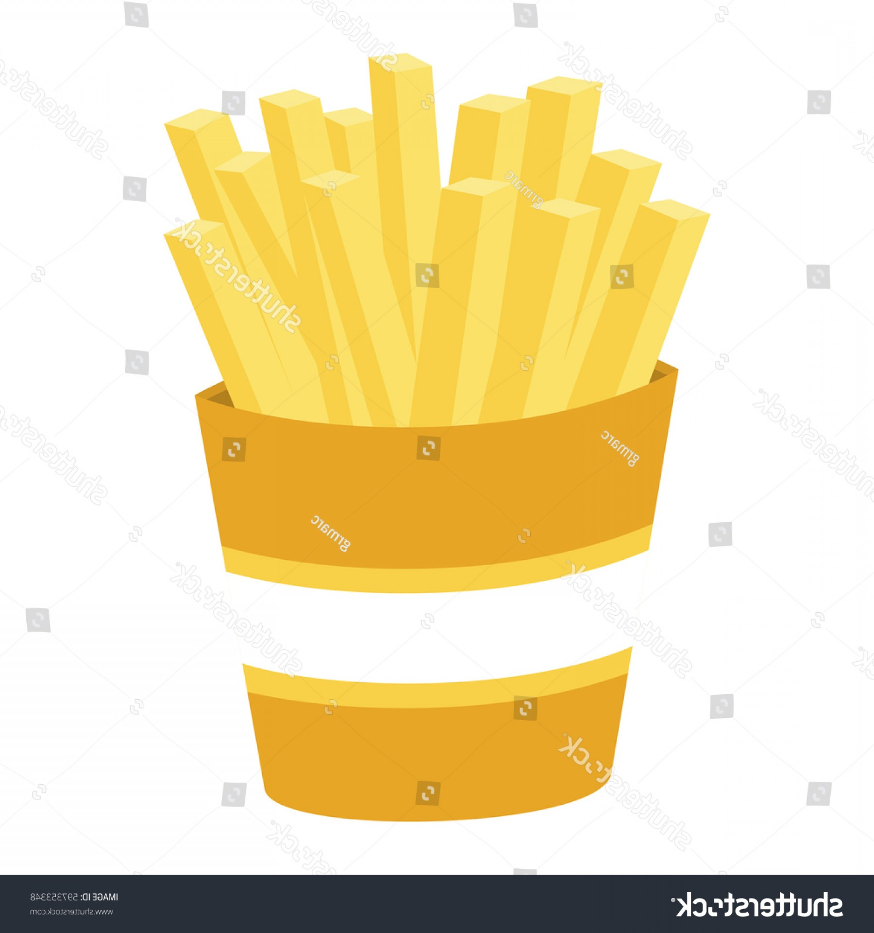 Fries Vector: Colorful Silhouette Portion French Fries Vector