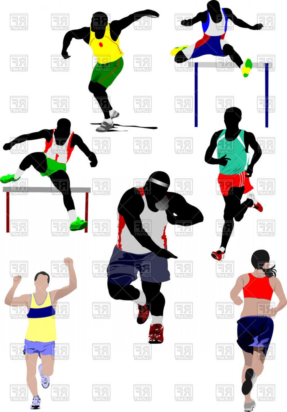 Athlete Vectors: Colorful Silhouettes Of Athletics Vector Clipart