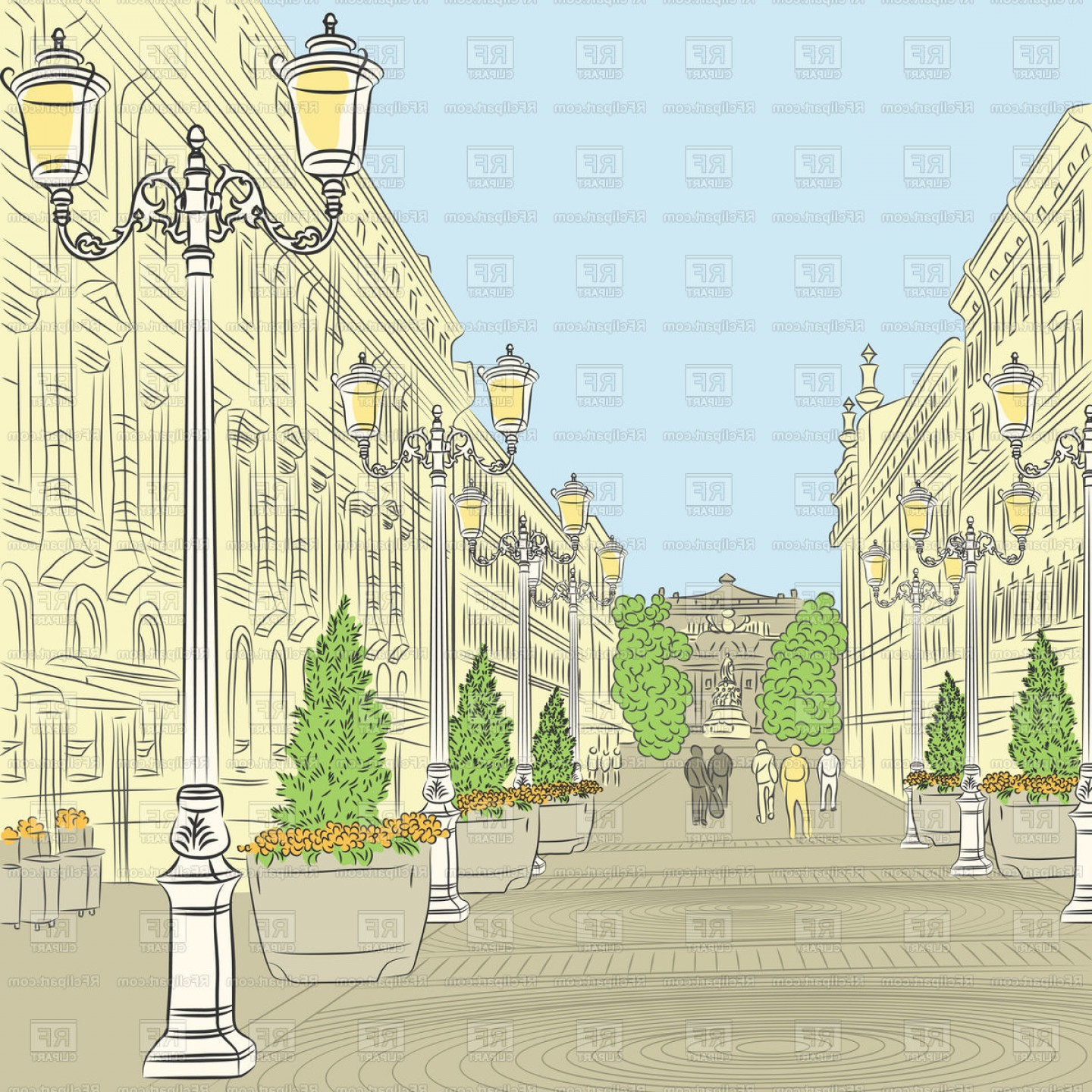 Perspective Vector: Colorful Sketch Of Cityscape In Perspective Vector Clipart