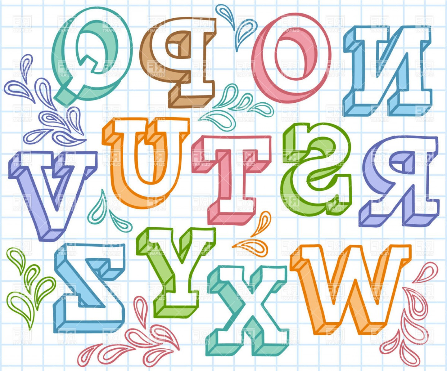 EPS Vector Letters: Colorful Sketchy Font Shaded Letters On Checkered Paper Vector Clipart
