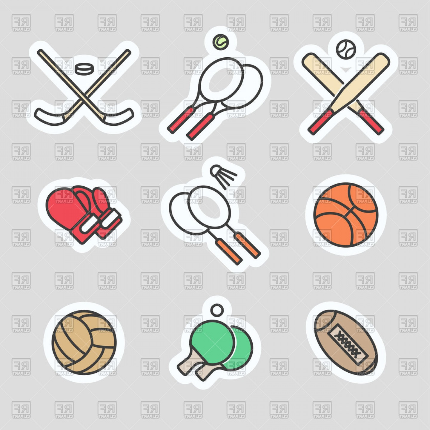 Sport Vector Art Games: Colorful Sport Games Stickers Vector Clipart