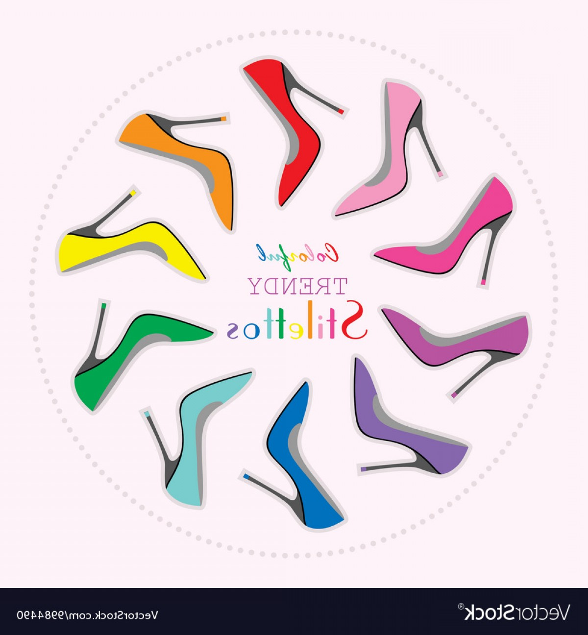 Silhouette Hee High Vector Lsitleetios: Colorful Stiletto High Heels Set In Circle Layout Vector