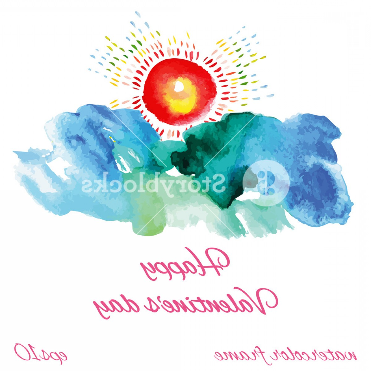 Watercolor Vector Free Designs: Colorful Sun And Clouds Watercolor Vector Illustration Hfayez Zjextmu