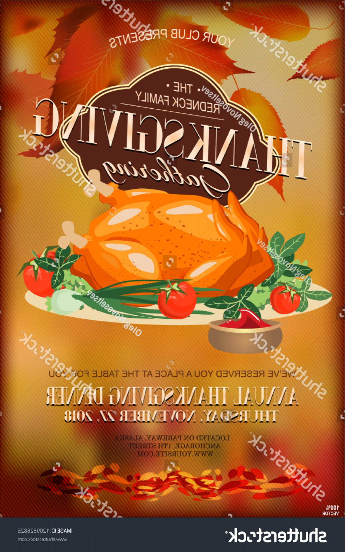 Redneck Family Vector Graphic: Colorful Thanksgiving Poster Greeting Card Traditional