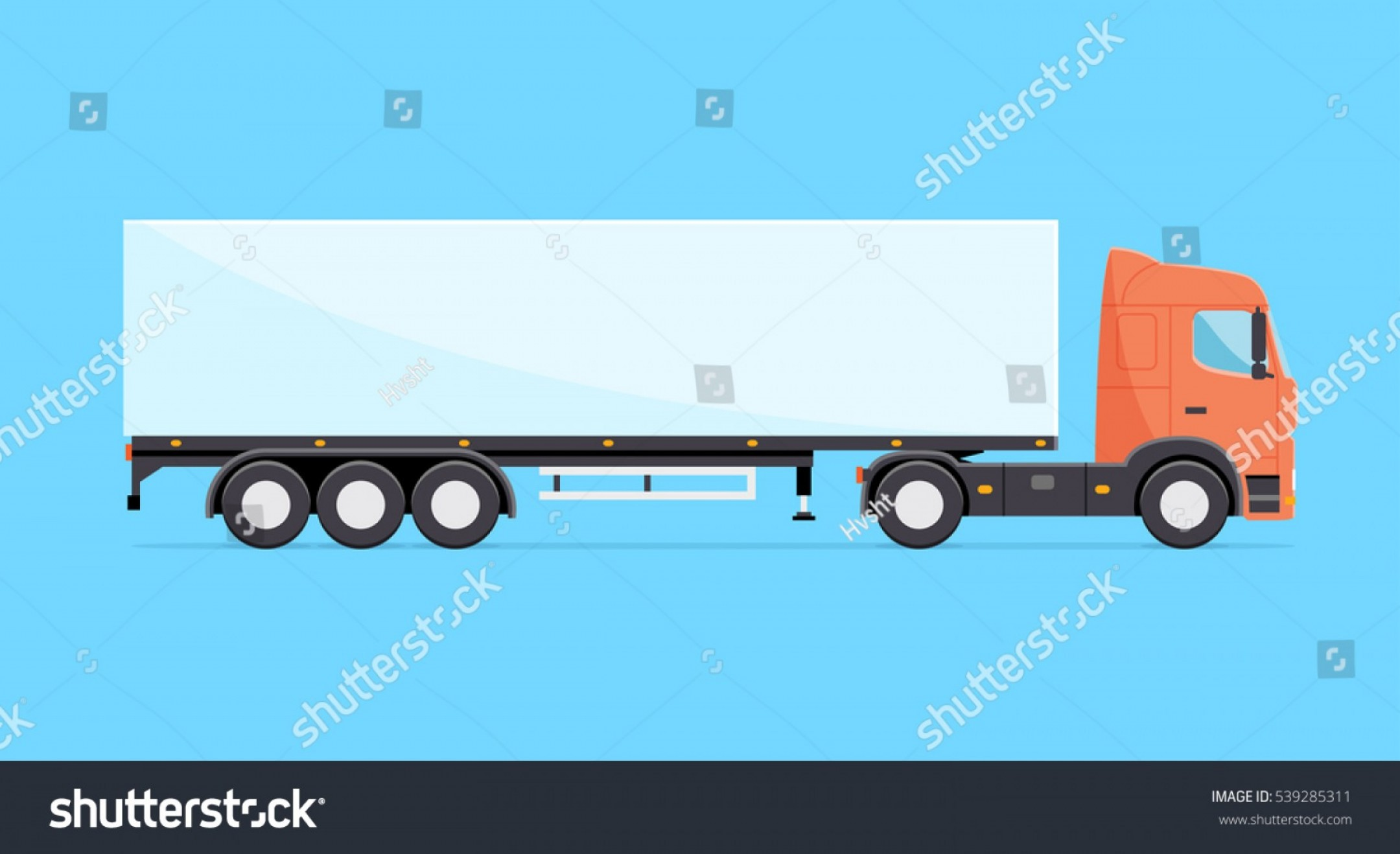 Vector Truck And Trailer Hauling: Colorful Vector Truck Illustration Heavy Semitrailer